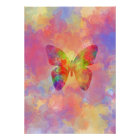 Whimsical Abstract Butterfly Rainbow Watercolor Poster