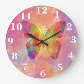Whimsical Abstract Butterfly Rainbow Watercolor Wallclocks