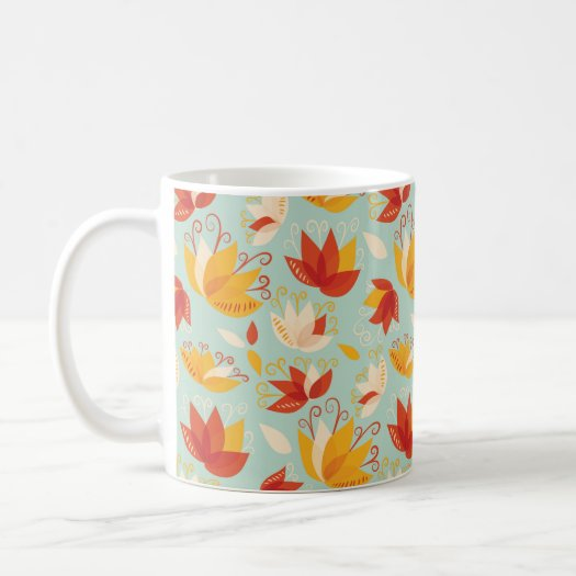 Whimsical Abstract Colorful Lily Floral Pattern
