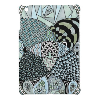 Whimsical Abstract Doodle Pattern Blue and Green iPad Mini Cover