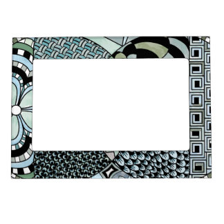 Whimsical Abstract Doodle Pattern Blue and Green Magnetic Frame
