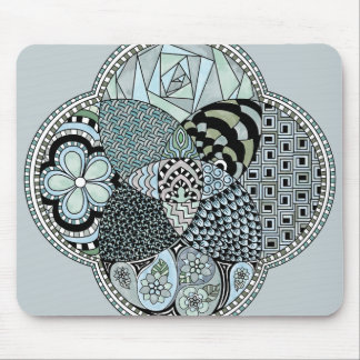 Whimsical Abstract Doodle Pattern Blue and Green Mouse Pad