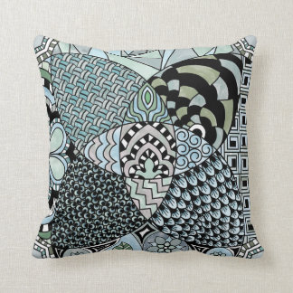 Whimsical Abstract Doodle Pattern Blue and Green Throw Pillow