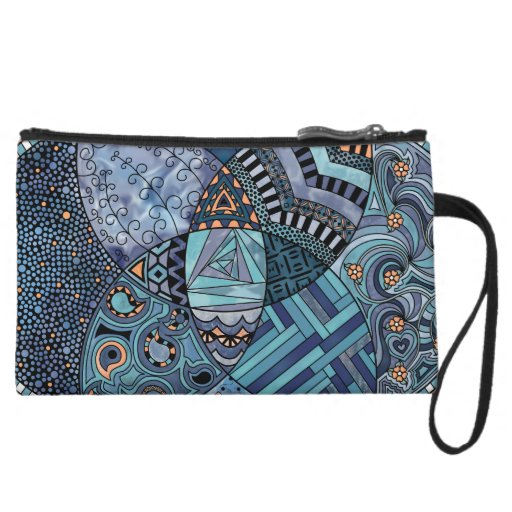 Whimsical Abstract Doodle Pattern Blue and  Purple Wristlets
