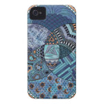 Whimsical Abstract Doodle Pattern Blue and  Purple Case-Mate iPhone 4 Cases
