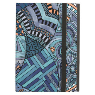 Whimsical Abstract Doodle Pattern Blue and  Purple Case For iPad Air