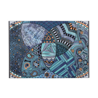 Whimsical Abstract Doodle Pattern Blue and  Purple Case For iPad Mini