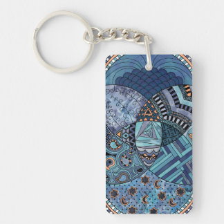 Whimsical Abstract Doodle Pattern Blue and  Purple Keychain