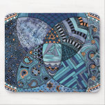 Whimsical Abstract Doodle Pattern Blue and  Purple Mousepad