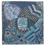 Whimsical Abstract Doodle Pattern Blue and  Purple Printed Napkin