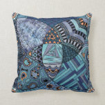 Whimsical Abstract Doodle Pattern Blue and  Purple Pillows