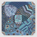 Whimsical Abstract Doodle Pattern Blue and  Purple Stickers