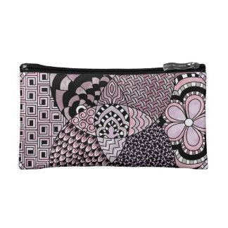 Whimsical Abstract Doodle Pattern Pink and  Purple Makeup Bag