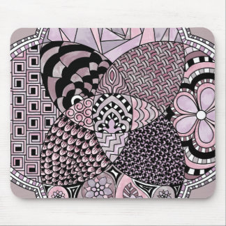 Whimsical Abstract Doodle Pattern Pink and  Purple Mouse Pad