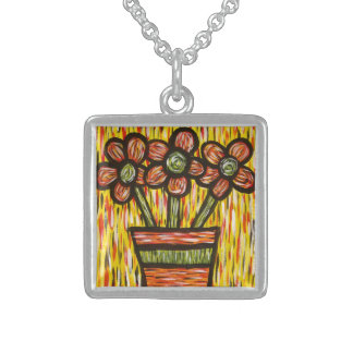 Whimsical Abstract Flowers In Vase Sterling Silver Necklace