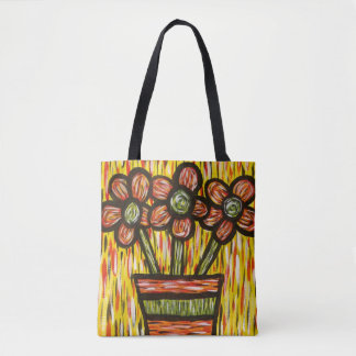 Whimsical Abstract Modern Flowers In Vase Tote Bag