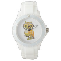 Whimsical Abstract Retro Pattern Owl Wristwatch