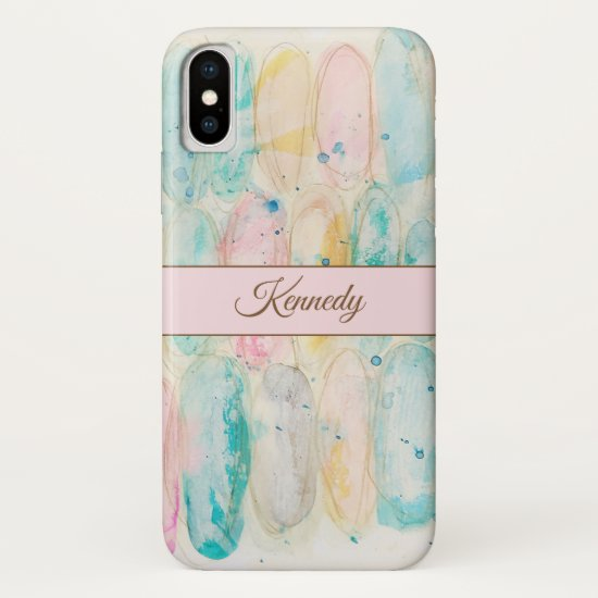 Whimsical Abstract Watercolor Art Pastel Pink Aqua iPhone XS Case