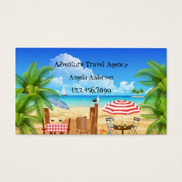 Beach Themed Whimsical Adventure Travel Agency Business Card