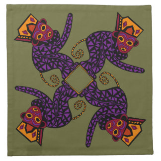 Whimsical African Monkey Motif Cocktail Napkins
