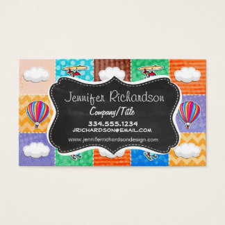 Whimsical Airplane, Helicopter, & Hot Air Balloon Business Card