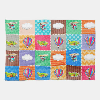 Whimsical Airplane, Helicopter, & Hot Air Balloon Towels