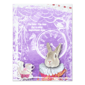 Whimsical Alice in Wonderland Collage Baby Shower 4.25x5.5 Paper Invitation Card