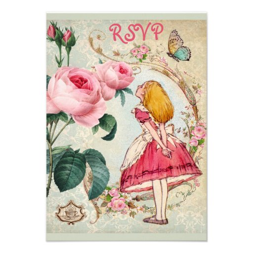 Whimsical Alice in Wonderland Collage RSVP Personalized Announcements