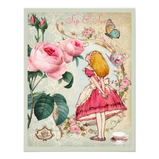 Whimsical Alice in Wonderland Collage Sip & See Custom Announcements