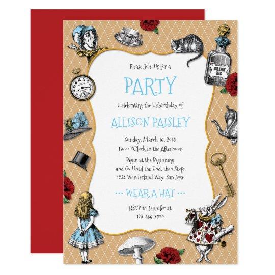 Whimsical Alice In Wonderland Party Invitation Zazzle Com