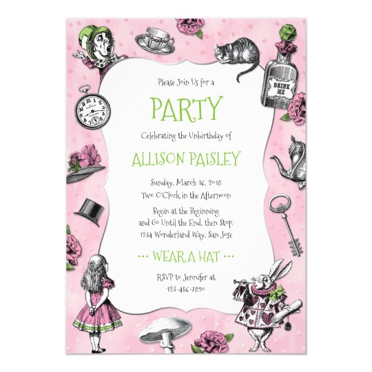 whimsical alice in wonderland pink and green invitation zazzle com