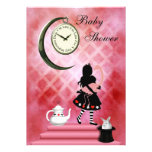 Whimsical Alice & Pink Flamingo Baby Girl Shower Personalized Invites