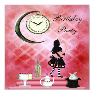Whimsical Alice & Pink Flamingo Birthday Party Card