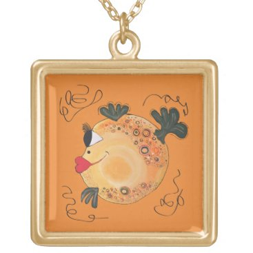 Beach Themed Whimsical and Adorable Fish Art Gold Plated Necklace