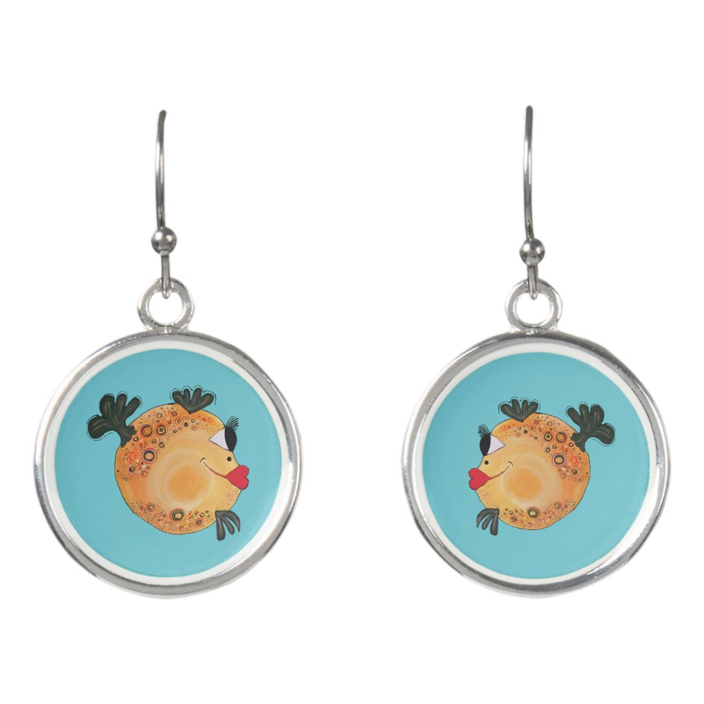 Whimsical and Adorable Fish Art Orange and Yellow