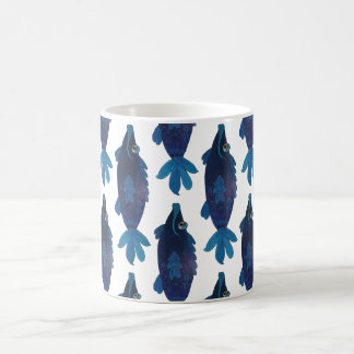 Whimsical and Adorable Fish Artwork in Rich Blues Coffee Mug