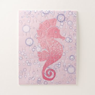 Beach Themed Whimsical and Adorable Seahorse Artwork Jigsaw Puzzle