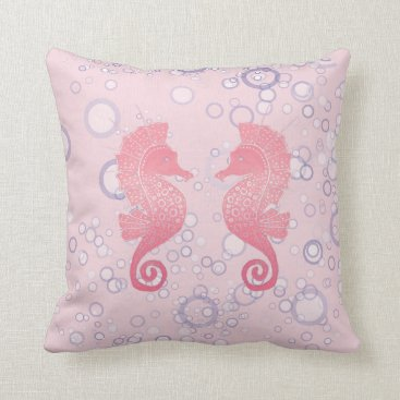 Beach Themed Whimsical and Adorable Seahorse Artwork Throw Pillow