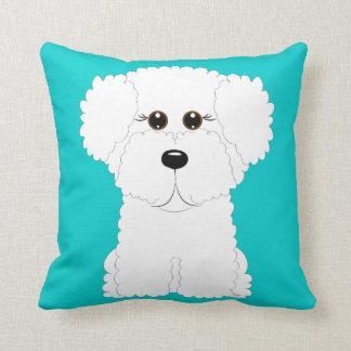 Whimsical and Cute Bichon Frise Throw Pillow