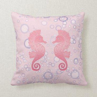 Beach Themed Whimsical and Cute Seahorse Artwork Throw Pillow
