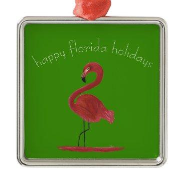 Beach Themed Whimsical and Flirty Pink Florida Flamingo Metal Ornament