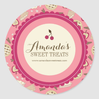 Whimsical and Fun Dessert Labels Classic Round Sticker