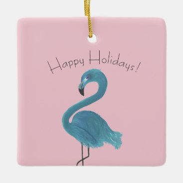 Beach Themed Whimsical and Fun Flamingo Art Holiday Gift Ceramic Ornament