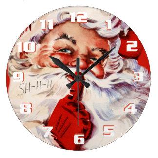 Whimsical and Fun Vintage Santa Large Clock