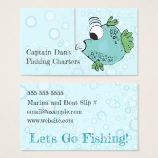 Whimsical and Funky Fish Blue, Green Business Card