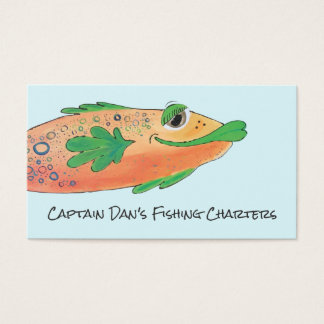 Whimsical and Funky Fish Orange, Green Business Card