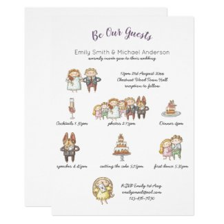 Whimsical Animal Timeline Wedding Invitations