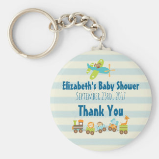 Whimsical Animals Toy Train Baby Shower Thanks Keychain