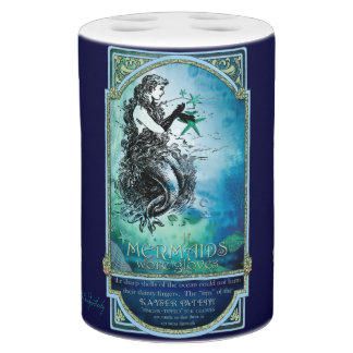 Whimsical Antiquarian Mermaid in the Sea Soap Dispenser & Toothbrush Holder