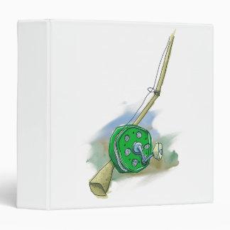 Whimsical Antique Fishing Reel 3-Ring Binder